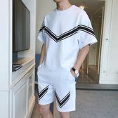 夏季時尚韓版短袖T恤短褲男孩運動休閒套裝學生潮流個性帥氣兩件套 QG28456『bad boy時尚』