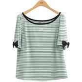 春夏7折[H2O]多色條紋棉質百搭針織上衣 - 白/粉/淺綠色 #9681009