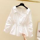 小心機襯衫 韓國春秋季韓版洋氣小衫收腰襯衫設計感小眾方領上衣女泡泡袖白色襯衣