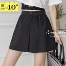 高腰短褲--顯瘦修身高腰收腹素色百搭A字西裝褲裙(黑M-5L)-R256眼圈熊中大尺碼◎