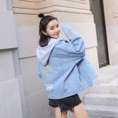 牛仔外套-連帽時尚刺繡個性破洞女丹寧夾克73tj2【時尚巴黎】