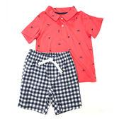 Carter s 短袖套裝 Polo杉+短褲二件組紅船勾 小男童【CA249G415】