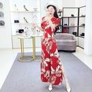夏季新款韓版氣質復古楓葉印花V領高腰開叉連體褲闊腿長褲女