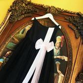 女童夏天洋裝黑白赫本風小黑裙女童蓬蓬紗裙花間公主