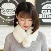 秋冬白色獺兔毛甜美圍巾女黑色毛毛圍脖學生皮草脖套保暖球球毛領 美芭