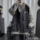 薄外套 工裝外套男春秋薄款假兩件機能風夾克ins韓版潮流寬鬆痞帥上衣服 新年特惠