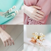 戒指 925純銀 鑲鑽-清新珍珠生日情人節禮物女開口戒3色73dv32[時尚巴黎]
