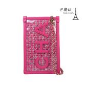 【巴黎站二手名牌專賣店】*現貨*CHANEL 香奈兒 真品*AP0255桃紅色編織PVC鏈帶斜背手拿包手機包