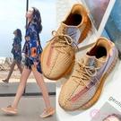 老爹鞋 椰子鞋女情侶款 兵馬俑珊瑚橙老爹鞋 ins潮夏季透氣百搭休閒運動鞋
