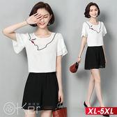 抽象刺繡短袖上衣+闊腿短褲套裝 XL-5XL O-ker歐珂兒 169013-3
