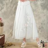 實拍小清新中長款鬆緊腰百搭繡花絲帶鑲嵌半身裙女 入秋首選