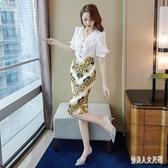 雪紡洋裝2020新款夏復古中國風v領流行裙子名媛氣質顯瘦一步裙XL3521【俏美人大呎碼】