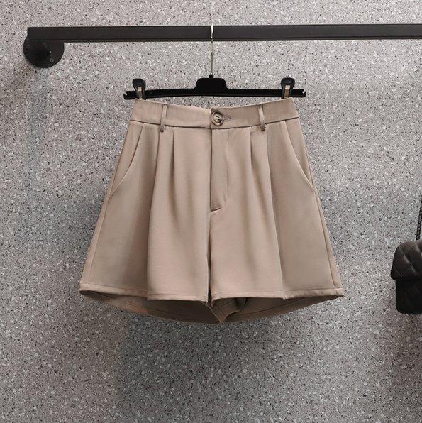 短褲大尺碼休閒L-4XL大碼西裝短褲寬鬆高腰顯瘦休閒a字外穿黑色闊腿短褲R26-6866.胖胖唯依