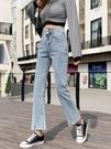 喇叭褲 微喇叭牛仔褲女夏季2021年春秋新款小個子九分淺藍色高腰直筒開叉 晶彩