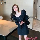 牛仔洋裝 大碼泡泡袖長袖牛仔裙胖mm連身裙收腰顯瘦秋季2021新款女黑色裙子 小天使