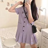涼感棉麻洋裝少女敲醬紫~復古西裝領百褶荷葉邊短袖刺繡棉麻連身裙 伊蒂斯女裝
