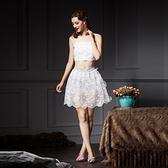 蕾絲吊帶上衣+短裙(兩件套)-時尚唯美優雅氣質女裙裝73lk33[巴黎精品]