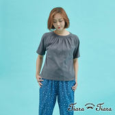 【Tiara Tiara】百貨同步 縮領單色短袖上衣棉T(灰/橘)