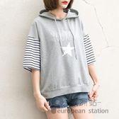連帽T恤/女短袖寬鬆上衣半袖小衫「歐洲站」