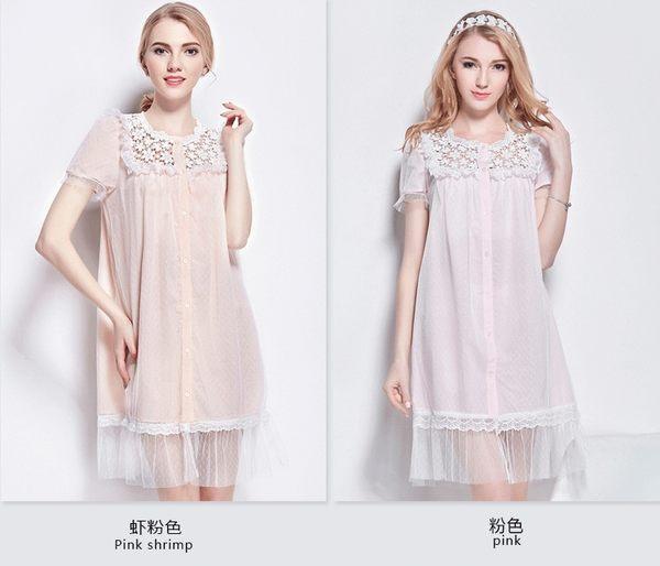 棉綢睡衣女夏季純色睡裙-dee005