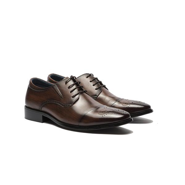 Waltz-經典牛皮拉絲感紳士鞋211019-23咖