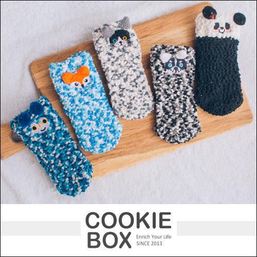兒童 加厚 珍珠 珊瑚絨 聖誕 動物 襪 短襪 保暖襪 幼兒 可愛 交換禮物 雪人 麋鹿 *餅乾盒子*