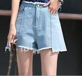 【優選】高腰牛仔大碼胖學生韓版百搭寬鬆闊腿短褲女