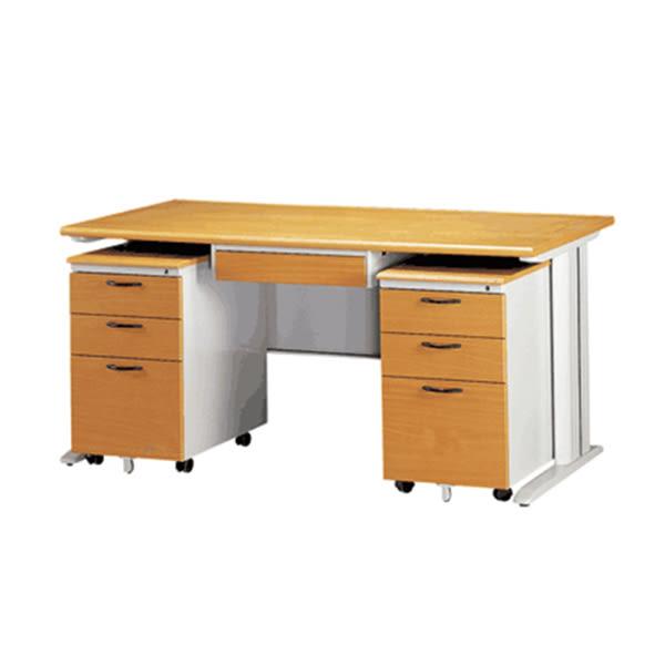 【YUDA】160-CD木面灰體辦公桌(木紋中抽/活動櫃2個)905色 4件組/辦公桌/寫字桌