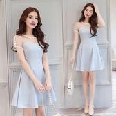 限時38折 韓國風名媛氣質網紗拼接修身花邊短袖洋裝