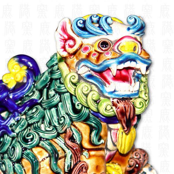 鹿港窯-居家開運商品-台灣國寶交趾陶~七巧獅之五琴