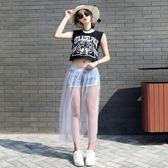 紗裙 夏季新款超薄透視網紗半身裙女單層黑色打底紗裙高腰外搭透明長裙 小艾時尚