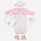 【愛的世界】純棉假兩件長袖兩用嬰衣5件組禮盒/3~6個月-台灣製- ★禮盒推薦