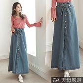 【天母嚴選】高腰顯瘦排釦綁帶丹寧牛仔長裙(共二色)