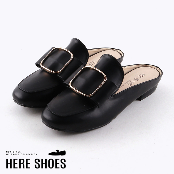 [Here Shoes]穆勒鞋-純色皮質金屬水鑽造型 低跟包頭拖鞋 穆勒鞋 MIT台灣製-KW2779