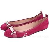 TOD'S 雙T LOGO拼接麂皮芭蕾舞鞋(莓紅色) 1720117-87