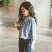 618好康又一發童裝女童春裝襯衫上衣長袖條紋襯衣