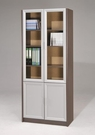 【 C . L 居家生活館 】M-4086A玻璃雙門書櫃(鐵刀木色+銀皮)