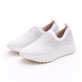MICHELLE PARK 新華麗時尚風彈性閃亮水鑽網面透氣針織休閒鞋-白色