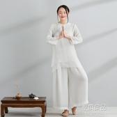 茶服瑜伽套裝改良中式上衣女禪服女棉麻中國風唐裝女裝 【原本良品】