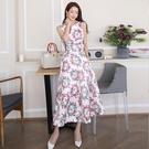 無袖洋裝小禮服 女神範連身裙2021夏新款韓版氣質長裙時尚收腰顯瘦無袖印花大擺裙