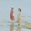 Queen Shop【01085485】方領傘擺純色棉麻吊帶洋裝 五色售*現+預*