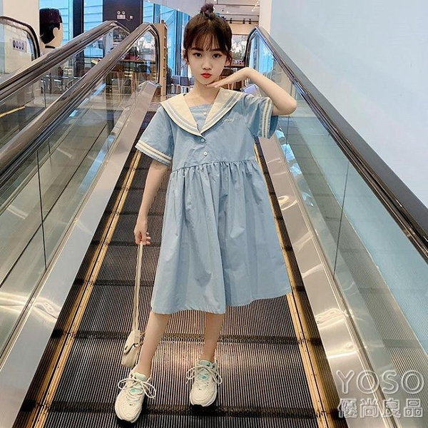 女童洋裝 女童連衣裙2021夏季新款韓版洋氣海軍領裙子中大兒童裝公主裙 618大促銷