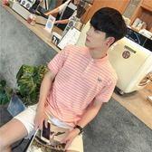 夏季韓版修身Polo衫青少年條紋短袖翻領T恤男潮牌 LQ2452『小美日記』