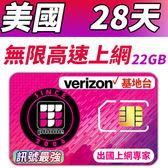 【TPHONE上網專家】美國 28天無限高速上網卡 含無限通話和無限簡訊 使用美國訊號最強 VERIZON電信