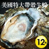 【屏聚美食】美國特大帶殼生蠔12顆組(400g±100g/顆)