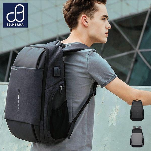 後背包 防水面料潮流商務款 反光條USB筆電平版後背包 男包 89.HERRA-HB89334