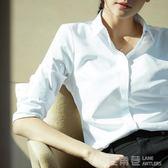 職業白襯衫女夏新款正裝工作服修身學生長袖襯衣工裝秋裝上衣 鹿角巷