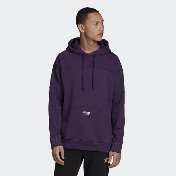 ISNEAKERS Adidas Original R.Y.V. 男裝 紫 帽T 背後大LOGO 連帽T恤 FK3261