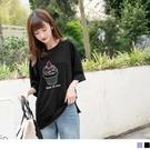 《KG0485-》竹節棉甜點印圖寬鬆上衣...