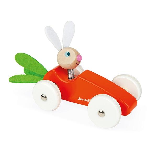 【法國Janod】經典設計木玩-紅蘿蔔賽車